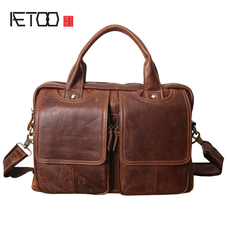 de564d60ba5 AETOO Original men s art retro style briefcase briefcase leather first  layer leather leather wax leather Messenger bag shoulder