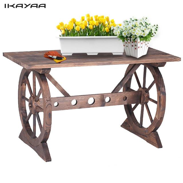 IKayaa Wagon Wheel Wood Outdoor Potting Table Work Station Garden Plant  Stand Table Garden Furniture US
