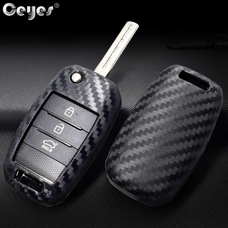 Ceyes Auto Carbon Fiber Shell Cover Car Styling Accessories Key Case For Kia KX5 K2 K3 K4 K5 Rio Sportage QL Ceed Sorento Cerato