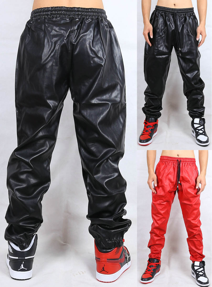Freeshipping Mens Faux Leather Pants Length Trousers Fashion