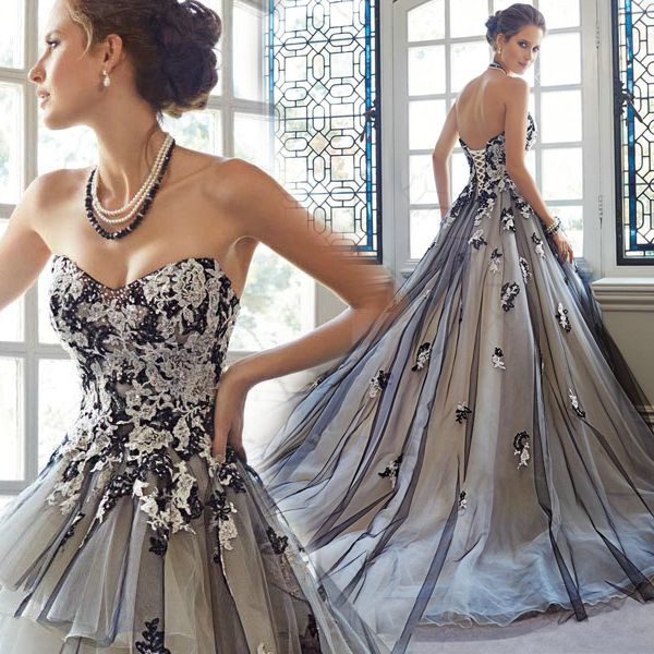 2016 new stock plus size women dress bridal party dress for Black and grey wedding dress