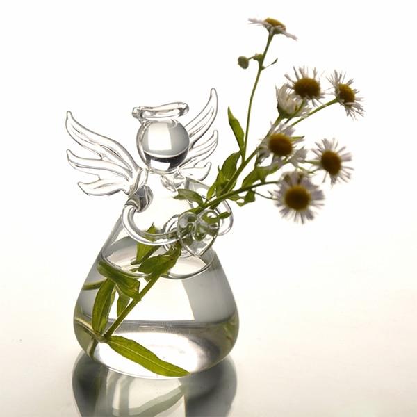 caja de llaves nueva caliente orando ngel de cristal jarrones transparentangel forma flor de la oficina