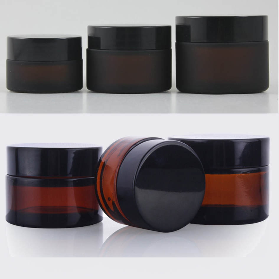 20g 30g 50g matte brown and Transparent glass cosmetic containers cream jar Frosted glass bottle for