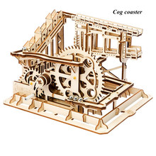 Robud  4 Kinds DIY Marble Run Game Wooden Gear Drive Model Building Kits Assembly Toy Gift for Children Adult  LG501
