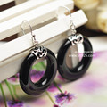 Black silver jewelry wholesale 925 Sterling Silver Earrings Silver Black Onyx Circle Earrings retro fashion 021241 Ms.