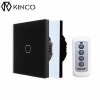 KINCO EU UK AC170 240V 1Gang 1Way Standard Smart Touch Switch RF433 Remote Control Wall Switch