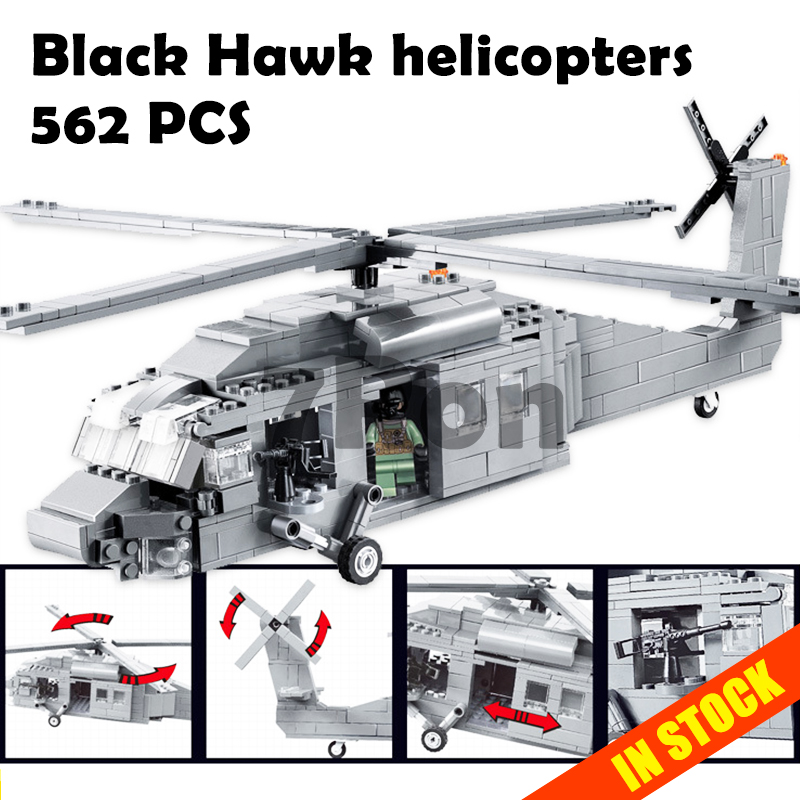 цена Decool Model building kits compatible with lego military Black Hawk helicopters 3D blocks Educational toys hobbies for children