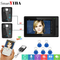 SmartYIBA Video Intercom 7 Inch LCD Wired Wireless Wifi Video Doorbell Phone 2 Camera Monitor System