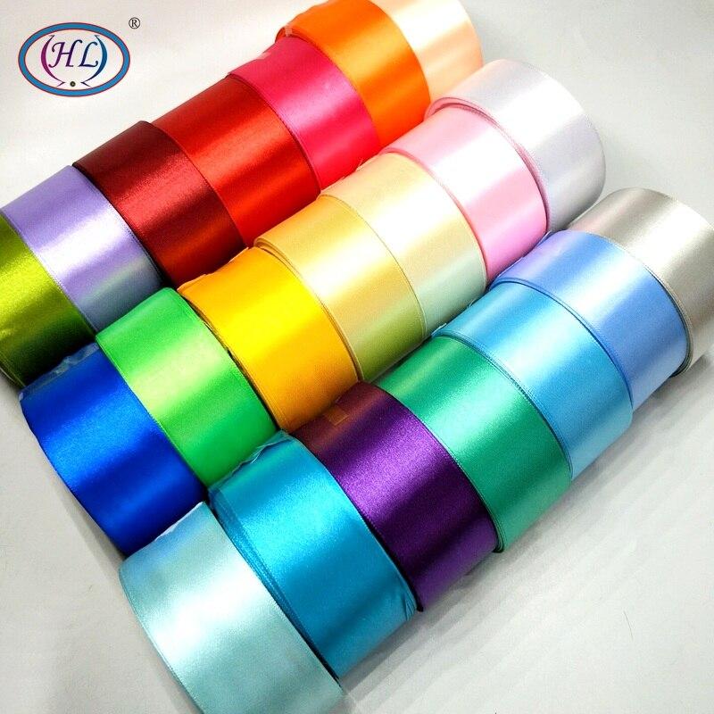 "HL 5 מטרים 1-1/2 ""(40 מ""מ) הרבה צבעים מוצק צבע סאטן סרטי חתונה דקורטיבי אריזת מתנה גלישת חגורת DIY מלאכות R005"