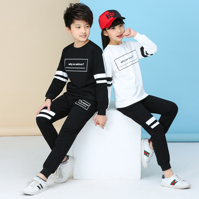 29ac83847 2018 Autumn Winter Big Boys Girls Clothes for Sister Brother Matching  Outfits Black White Sports Suits Hoodie+ Trousers