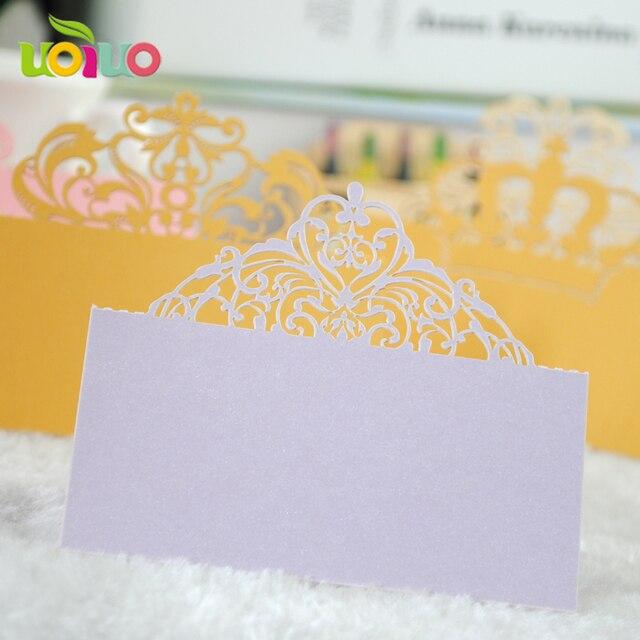 50pcs Light Purple Crown Paper Vine Laser Cut Name Place Card