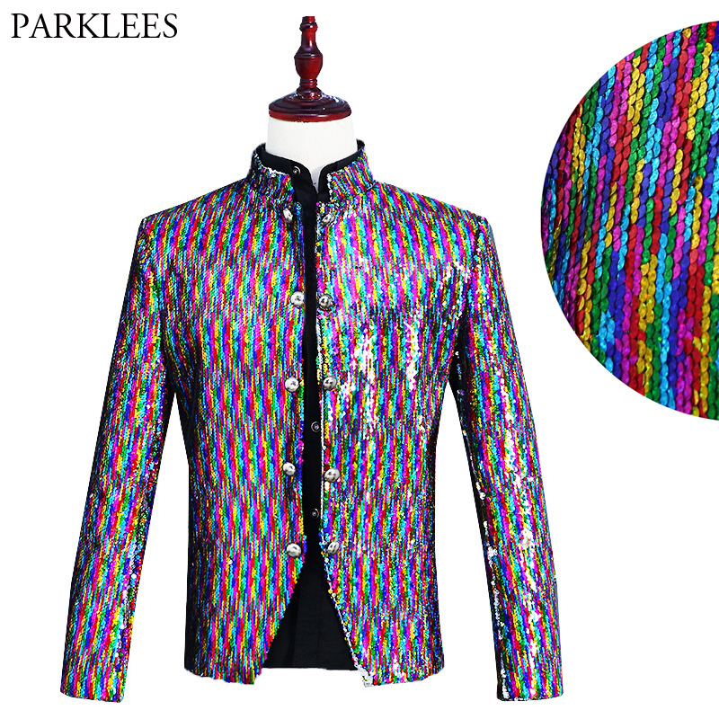 Mens Rainbow Color Sequin Blazer Jacket Brand Stand Collar Single Breasted Suit Blazer Stage Singer Host Nightclub Costume Homme
