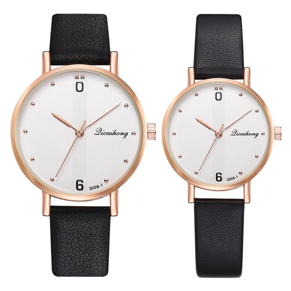 Couple Watches Set Simple Roman Numerals Design Women Men Watch Top Quality Black Leather Strap Lovers Sports Wristwatch