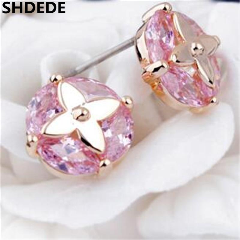 SHDEDE CZ Charm Jewelry AAA grade Cubic Zirconia Stud Earrings For Women Female Birthday Gift -8243