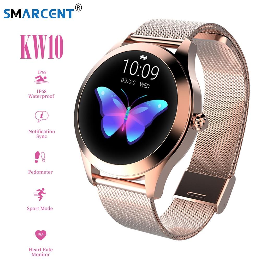 2019 KW10 Smart Uhr Frauen IP68 Wasserdicht Herz Rate Überwachung Bluetooth Für Android IOS Fitness Armband Smartwatch