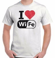 Aşk Eşi Wifi Serin Hediye Sevimli Edgy Internet Kalma Çift T-Shirt Tee Pamuk Gevşek Kısa Kollu Erkek Gömlek