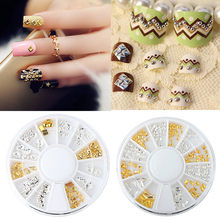 2pcs box Wheel of Nail Art Decoration 3D Acrylic Nail Art Tips Decoration Flat Back Glitter Rhinestones Pearls Beads(China)