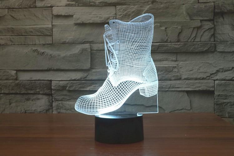 クリエイティブ3d led 7色靴ブーツハイヒール変えるビジュアル錯覚ライト寝室ライトアクションフィギュア