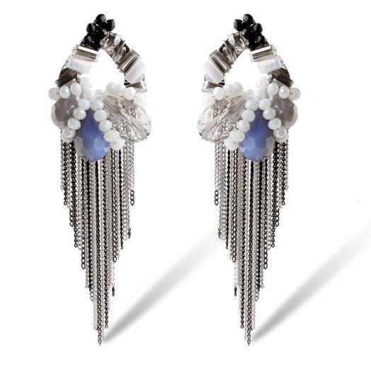 Модный дизайн марка этническая винтаж кристалл кисточкой длинные серьги Brincos бижутерии ну вечеринку висячие серьги высокое качество E255