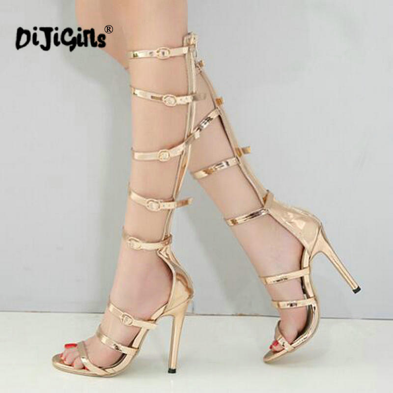 Dijigirls 2018 Summer Hollow Gladiator Sandals Catwalk High Heels Open Toe  Multi Buckle Mid Calf Woman Pumps Style Party Shoes-in High Heels from Shoes  on ... e824ba2fef91