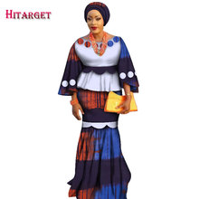 2019 African Kanga Clothing 2 Piece Set Women Loose Crop Top & Long Skirt Sets with Headtie Mermaid Maxi WY2377