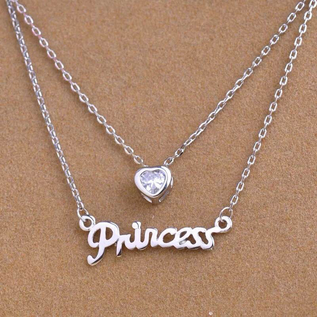 TWO layer PRINCESS HEART Gold Silver Bar Stick LETTER Chain Choker Necklace Pendant AAA Zircon For Women Jewelry Christmas Gift