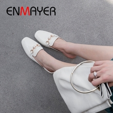ENMAYER  2019 New Arrival Women Med High Slippers Genuine Leather Woman Shoes Solid Spring/Autumn Size 34-40 LY2115