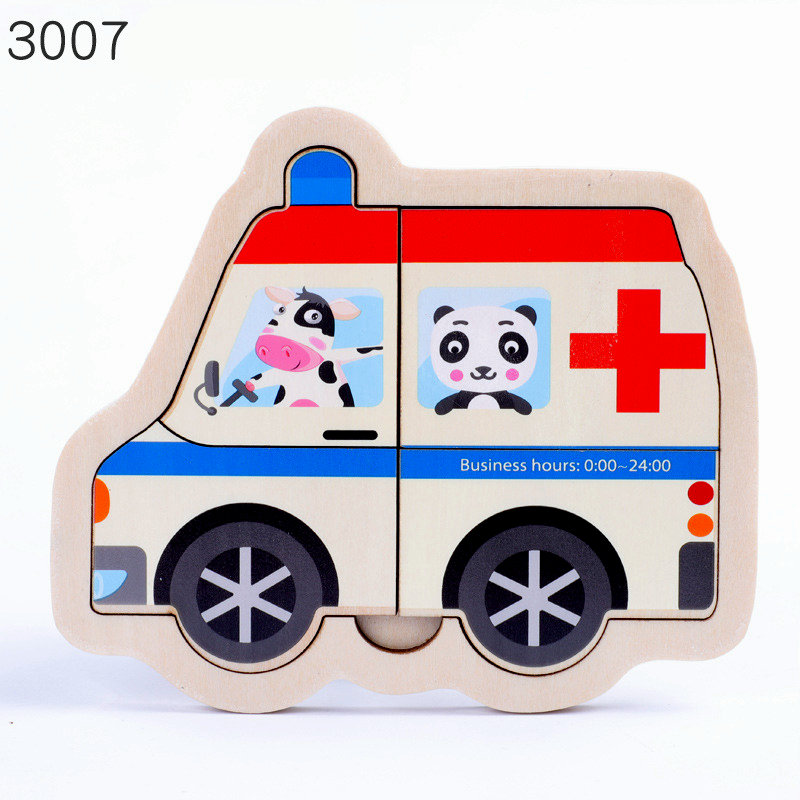 Wooden cartoon 3D puzzles Kids Educational toys Transportation car jigsaw puzzle Figure 8 Style Selection Montessori Baby puzzle in Puzzles from Toys Hobbies