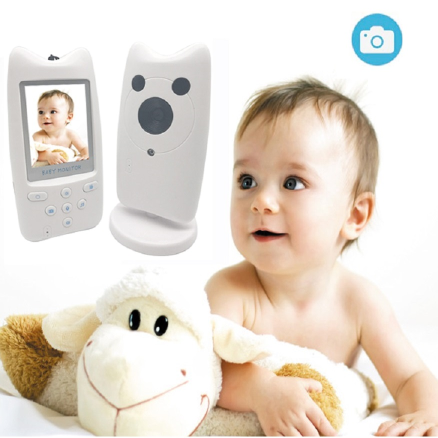 babykam vigilabebes radio nanny 2.4 inch LCD IR Night Vision Baby Intercom Temperature Sensor Lullabies vigila bebes video nanny