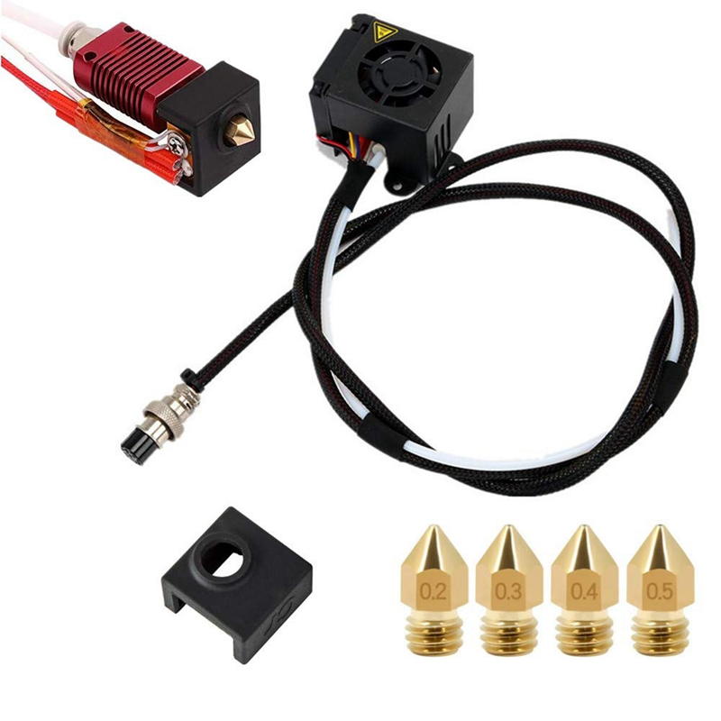 3D Printers Replacement Parts/Accessories Full Assemble Mk8 Extruder Hot End Kits (With Nozzle 0.4Mm /0.2Mm /0.3Mm /0.5Mm) Fit