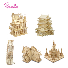 Rosana Wooden Building Model Kit 3D Assemble Toy Villa Chinese Building Leaning Tower Temple Model Kit Puzzle Toy Children Gift