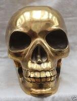 Pure Copper bronze Dourado Com Bom Gosto Chinês Escultura de Bronze Chinês Estátua da cabeça do Crânio humano Esqueleto Humano Trabalhada