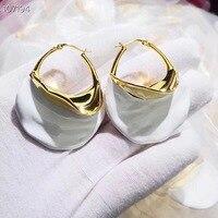 Fashion luxury replica Brand yellow copper Jewelry For Women Irregular exaggeration white Earrings drop Wedding Party Earrings