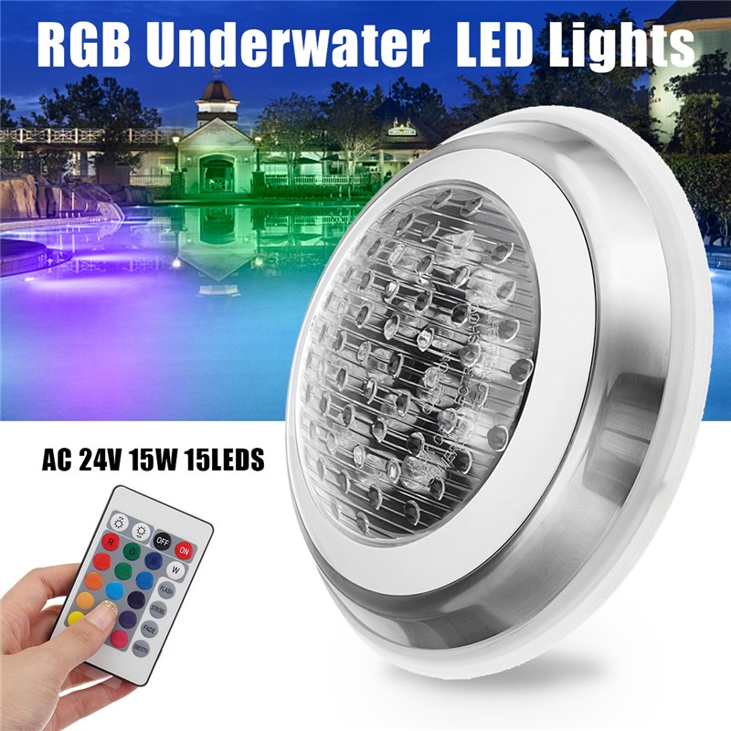 7 Color 24V 15W RGB Swimming Pool LED Light Underwater Lamp + Remote Control Function IP68 Waterproof Outdoor Lamp Pond Light 16w led rgb underwater light waterproof ip68 fountain swimming pool lamp colorful change with 24key ir remote