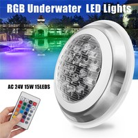 7 Color 24V 15W RGB Swimming Pool LED Light Underwater Lamp Remote Control Function IP68 Waterproof