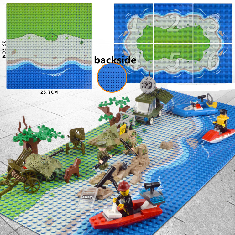 10x10 5 inch Island Baseplate Small blocks 16 32*32 dot 25x25cm Sea Beach building bricks base plate Figure Boy Toy DIY Board 32 32 dots plastic bricks the island straight crossroad curve green meadow road plate building blocks parts bricks toys diy