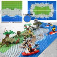 10x10 inch Island Baseplate Small blocks 16 32*32 dot 25x25cm Sea Beach building bricks base plate Figure Boy Toy DIY Board