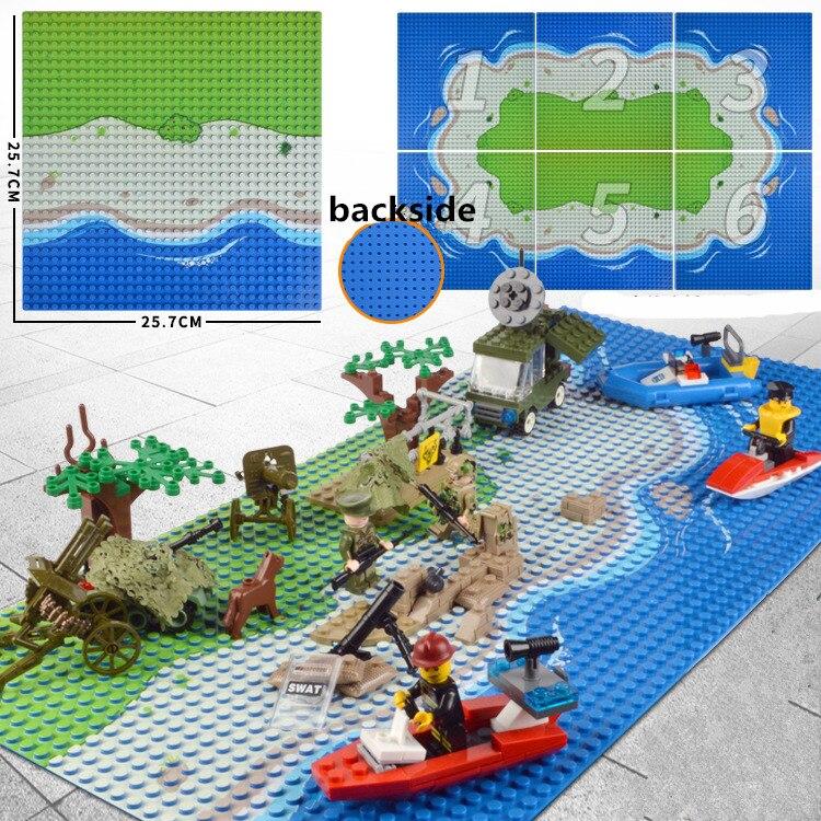 10x10 polegadas Ilha Baseplate blocos Pequenos 16*32 32 pontos 25x25 cm tijolos de construção placa de base Figura Brinquedo do Menino Da Praia do mar DIY placa