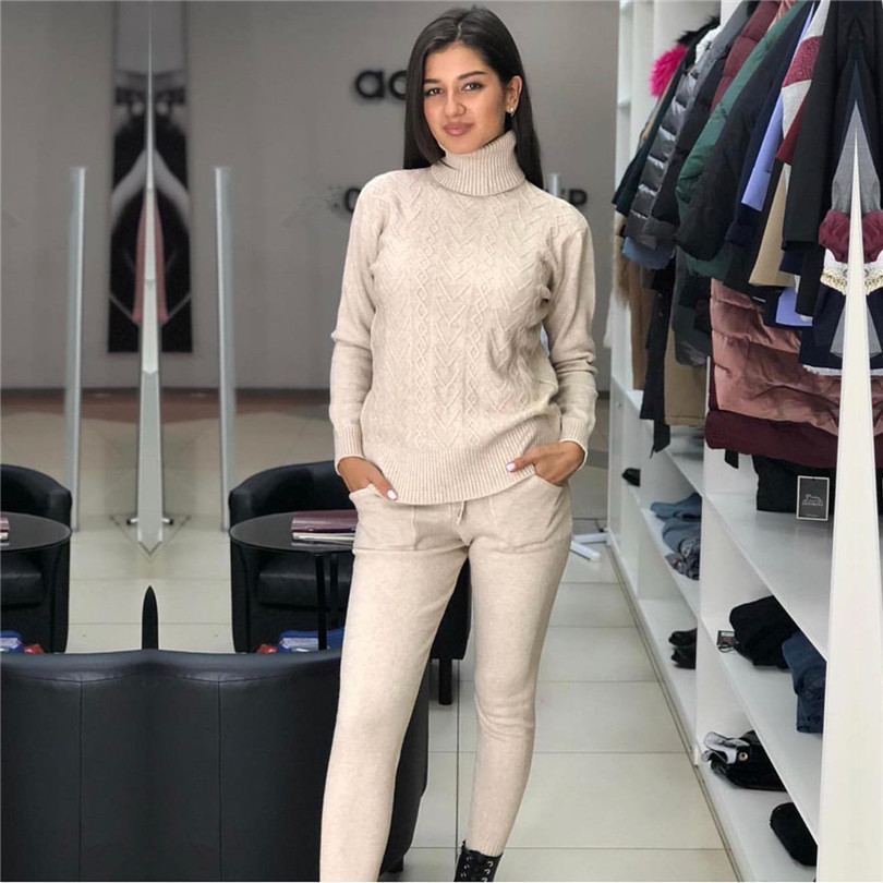 MVGIRLRU женщина свитер Костюмы витой трикотажные наборы водолазка femme и штаны комплект из двух предметов наряды женский