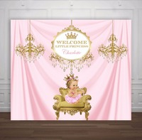 custom pink and gold princess crown baby shower 1st birthday backdrops High quality Computer print party backgrounds