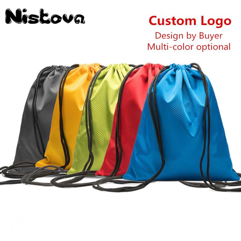 Custom Printing Logo Polyester Drawstring Bag Sports Waterproof Backpack Bundle Pocket  For Men Women Students