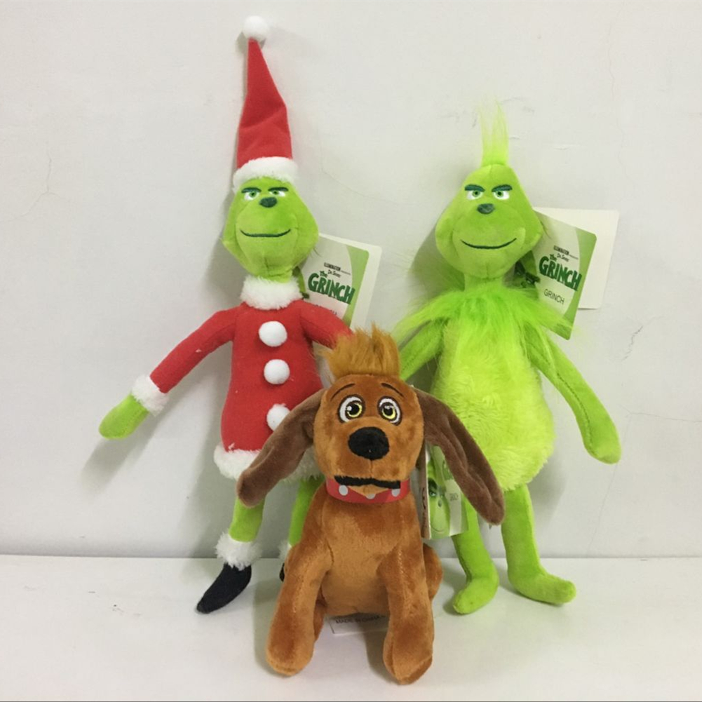 Dr Seuss How the Grinch Stole Christmas with Santa Hat Plush Xmas Stuffed Plush Toy Child