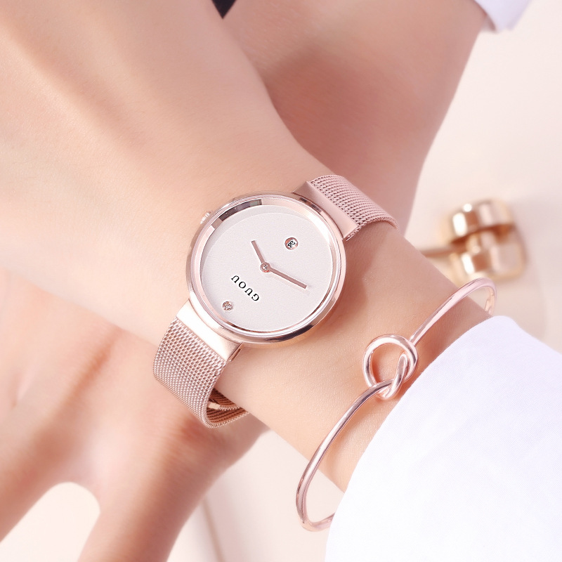купить GUOU Women Watches Rose Gold Watch Women Quartz Watches Top Brand Luxury Female Stainless Steel Wrist Watch Female Clock по цене 2029.73 рублей