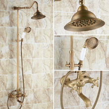 Vintage Retro Antique Brass Dual Cross Handles Bathroom Round Rain Shower Faucet Set Tub Mixer Tap Hand Shower mrs100 bathroom tub faucet dual cross handles with hand held sprayer antique brass