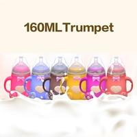 160ml Baby Silicone Milk Feeding Bottle Mamadeira Vidro BPA Free Safe Infant Juice Water Feeding Bottle cup Glass Nursing Feeder