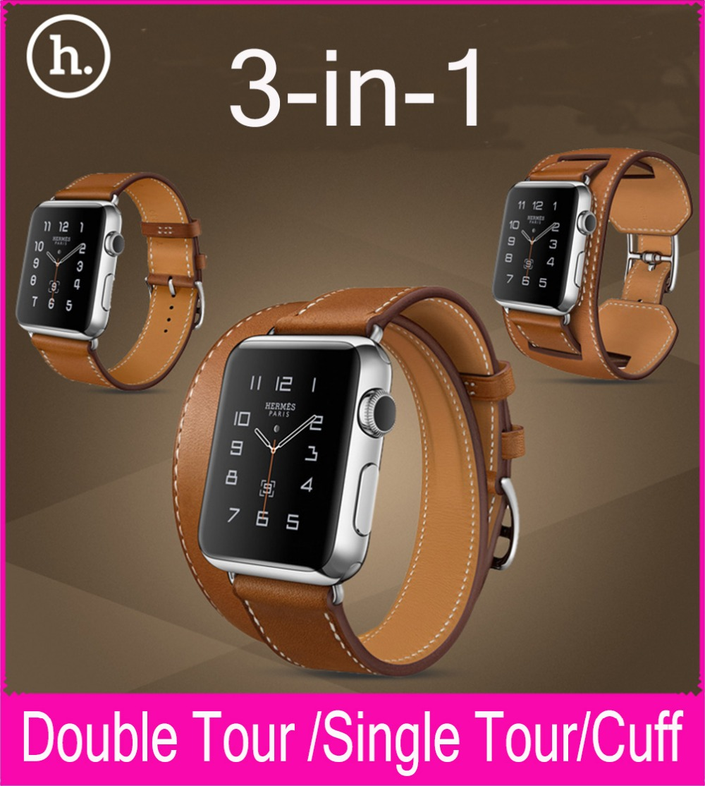 New 3 In 1 Package Single Tour Double Tour Cuff Genuine Leather Strap For  Apple Watch