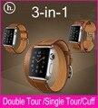 Novo 3 em 1 pacote único posto de duplo Tour Cuff pulseira de couro genuíno para a Apple assista 38 mm 42 mm com 1:1 Original placas de Metal