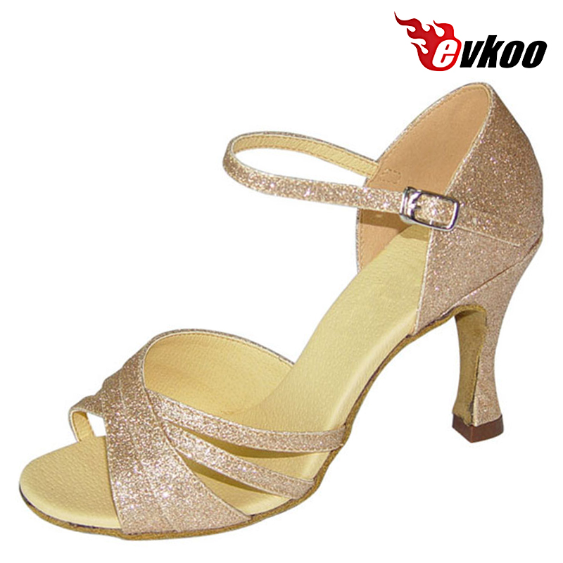 Evkoodance Brand Gold Sparking Size US 4-12 Comfortable Latin Dance Shoes For Ladies 7cm Heel Height Dance Shoes Evkoo-094Evkoodance Brand Gold Sparking Size US 4-12 Comfortable Latin Dance Shoes For Ladies 7cm Heel Height Dance Shoes Evkoo-094