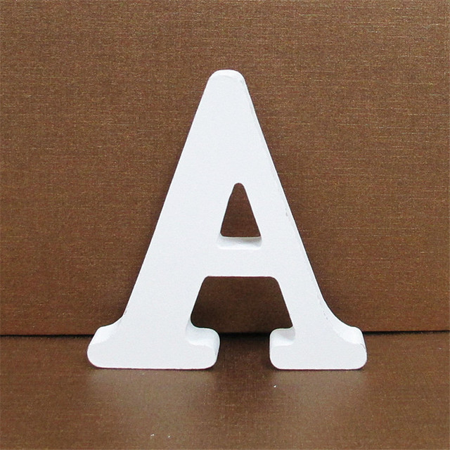 1pc 10CMX10CM White Wooden Letter English Alphabet DIY Personalised Name Design Art Craft Free Standing Heart Wedding Home Decor 5