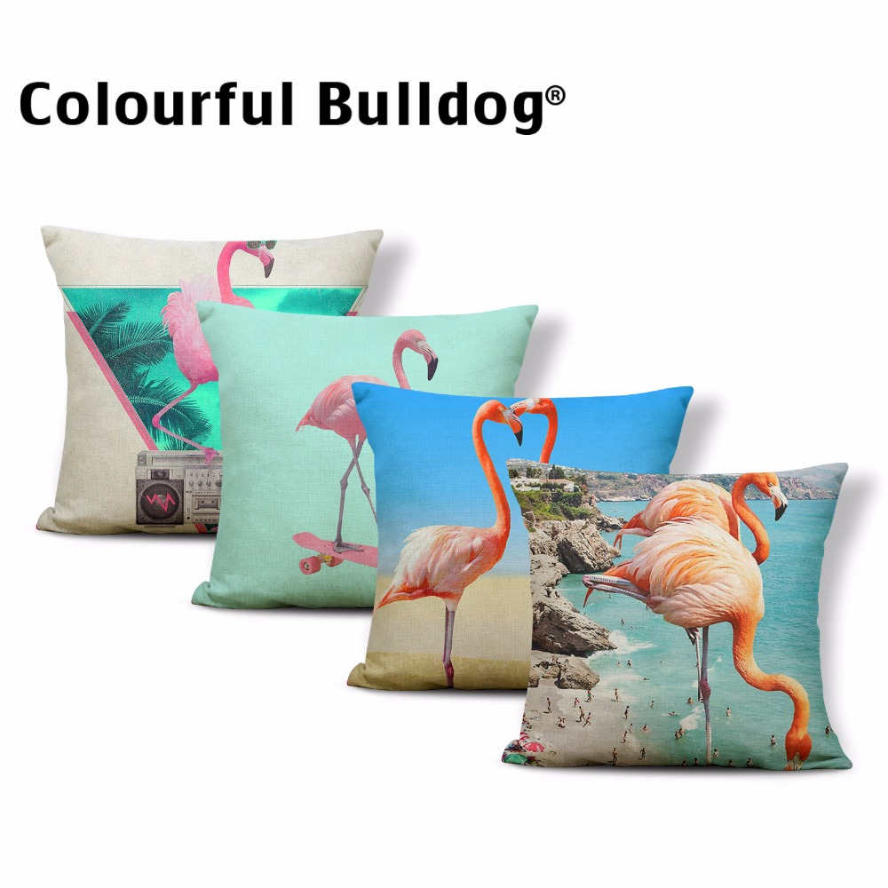 Best Selling Cushion Cove Watercolor Flamingo Pillow Sea Plam Tree Leaves 43*43cm Square Decorative Pillows For Living Room Sofa